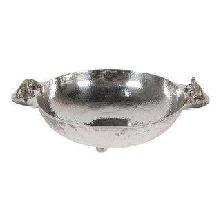 1960s Los Castillo Hand-Hammered Silver Lizard Bowl For Sale