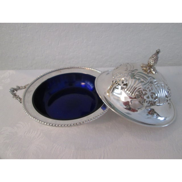 English Silver Lidded Bowl With Glass Insert - Image 4 of 11