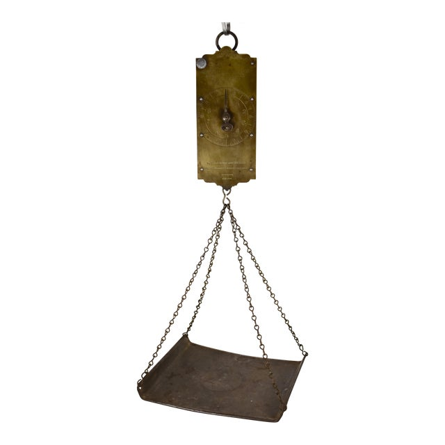 Chatillion Hanging 30 Lb. Brass Mercantile Scale with Steel Tray For Sale