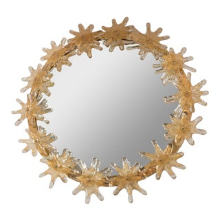 Circular Brass Mirror With Applied Murano Flowers For Sale