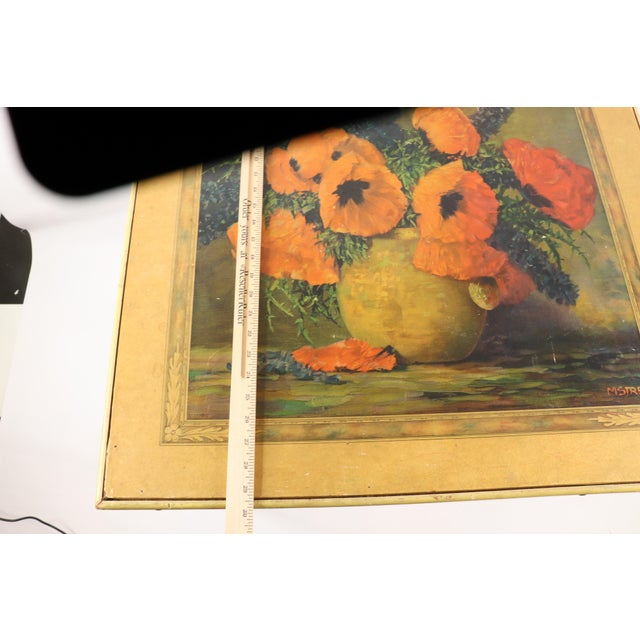 1950s Vintage Bridge Tables & Novelties M Streckenbach Poppy Flowers Table Stand For Sale - Image 11 of 12
