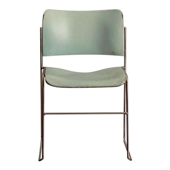 Set of Six Teal and Chrome David Rowland 40/4 Stacking Chairs For Sale
