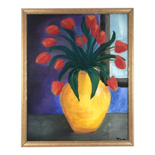 1996 Contemporary Still Life of Bouquet of Tulips in Yellow Vase For Sale