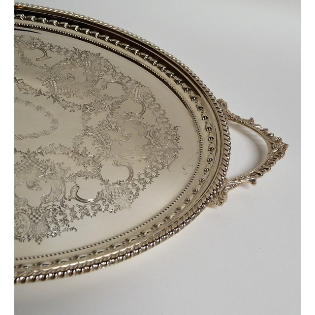 Traditional Antique English Silver Plate Serving Tray For Sale - Image 3 of 4