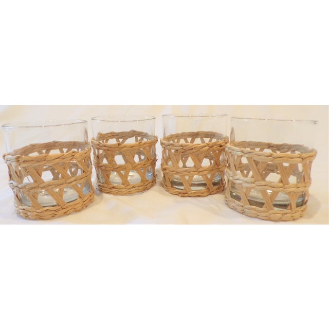 Vintage Rafia Wrapped Double Old Fashion Glasses - Set of 4 For Sale - Image 9 of 9