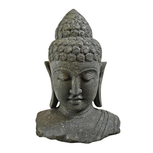 Stone Carved Buddha Bust For Sale
