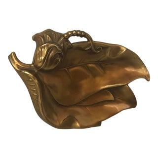 Vintage Brass Leaf Dish Ashtray For Sale