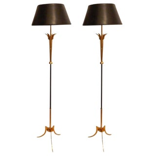 1960s Vintage Maison Jansen Floor Lamps - A Pair For Sale