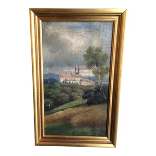 Early 20th Century Antique A. Taylor Oil on Linen Painting For Sale