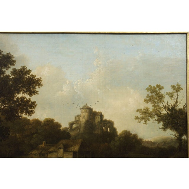 """""""Landscape W/ Castle Ruins"""" Antique English Painting by George Smith of Chichester For Sale - Image 9 of 13"""