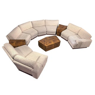 Milo Baughman Style 11-Piece Modern Curved Sectional Sofa Couch & End Tables Set For Sale