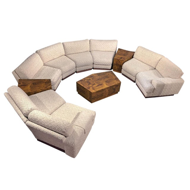 94b486ca77be Milo Baughman Style 11-Piece Modern Curved Sectional Sofa Couch   End  Tables Set For