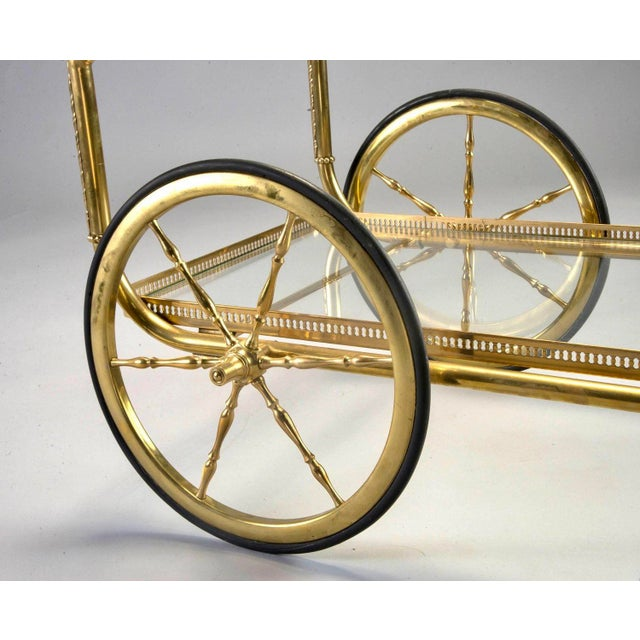 French Brass and Glass Bar or Tea Trolley For Sale In Detroit - Image 6 of 11