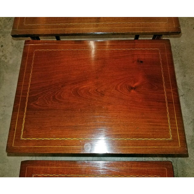 Early 20c British Mahogany and Inlaid Nest of Tables For Sale - Image 12 of 13