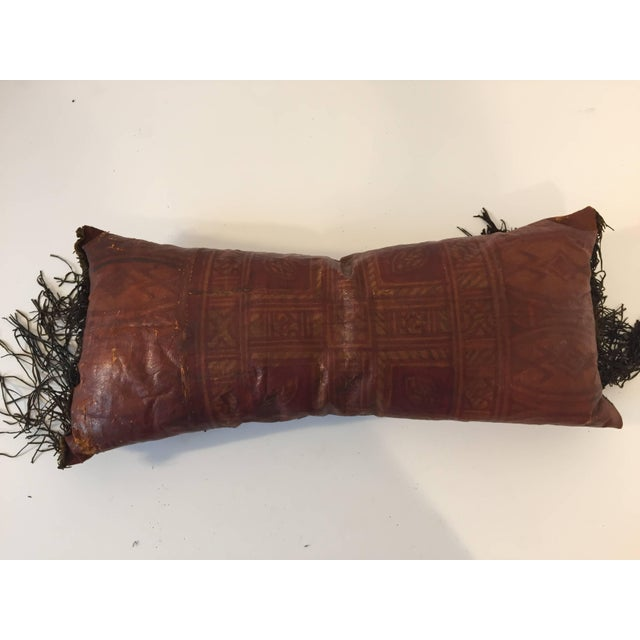 Brown African Tuareg Leather Pillow With Fringes For Sale - Image 8 of 10