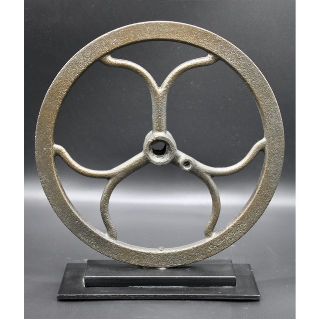 Bronze Vintage Iron Pulley on Custom Mount For Sale - Image 8 of 10