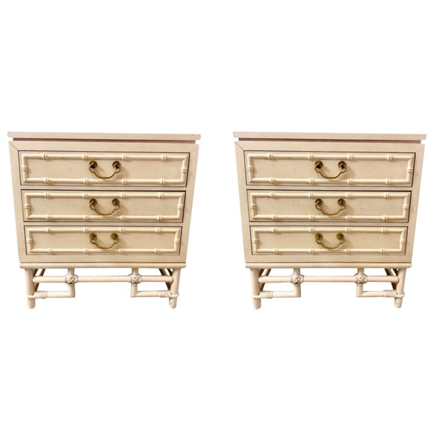 Ficks Reed Faux Bamboo Rattan Nightstands/Side Tables - a Pair For Sale