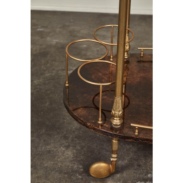 Aldo Tura 1950's Aldo Tura Parchment Bar Cart Trolley For Sale - Image 4 of 9
