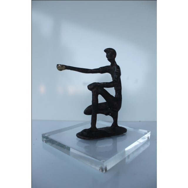 Abstract Solid Brass & Lucite Base Sculpture - Image 8 of 8