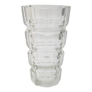 Josef Hoffman for Moser Art Deco Clear Geometric Vase For Sale