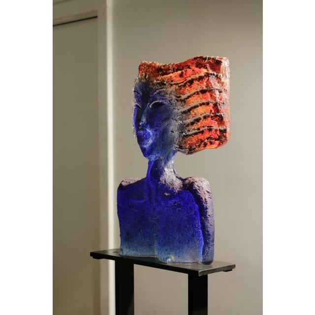 Glass Sculpture of a Woman Bust on a Metal Pedestal For Sale - Image 4 of 7