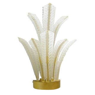 1960s Italian Barovier E Toso Frosted Murano Glass Leaves Sconce For Sale