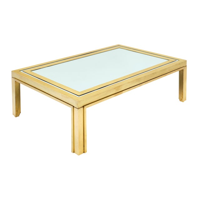 Romeo Rega Brass and Mirror Coffee Table For Sale