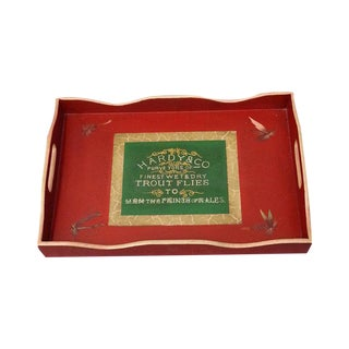 Red Rectangular Wooden Tray For Sale