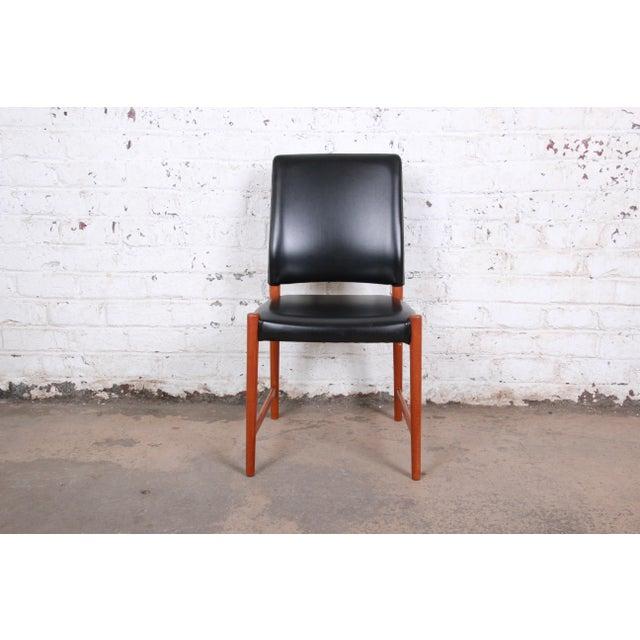 Torbjørn Afdal Torbjorn Afdal Teak and Black Leather Dining Chairs, Set of Four For Sale - Image 4 of 11