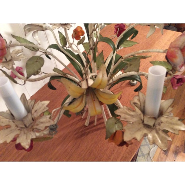 Green 1950s French Multi Colored Flower Toleware 6 Light Chandelier For Sale - Image 8 of 10