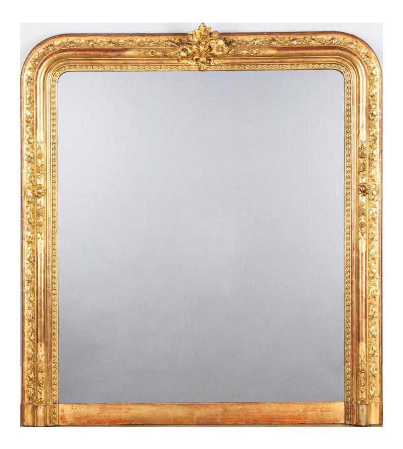 Exquisite French Napoleon Iii Gold Leaf Mirror 1870s Decaso