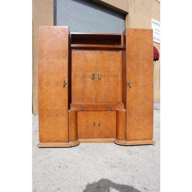Monumental French Art Deco Burl Amboyna Vanity Armoire Circa 1940s - Image 3 of 8