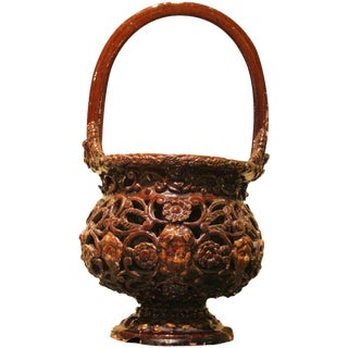 17th Century Italian Brown Glazed Redware Basket For Sale