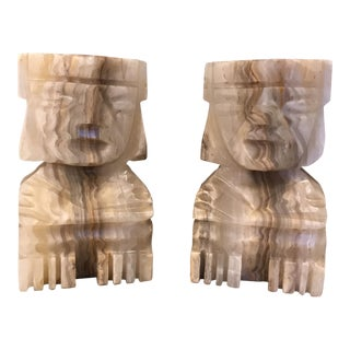 Marble Aztec Bookends - A Pair
