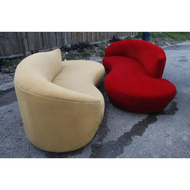 Hollywood Regency Curved Kidney Chrome Ultrasuede Sofas - A Pair For Sale - Image 3 of 11