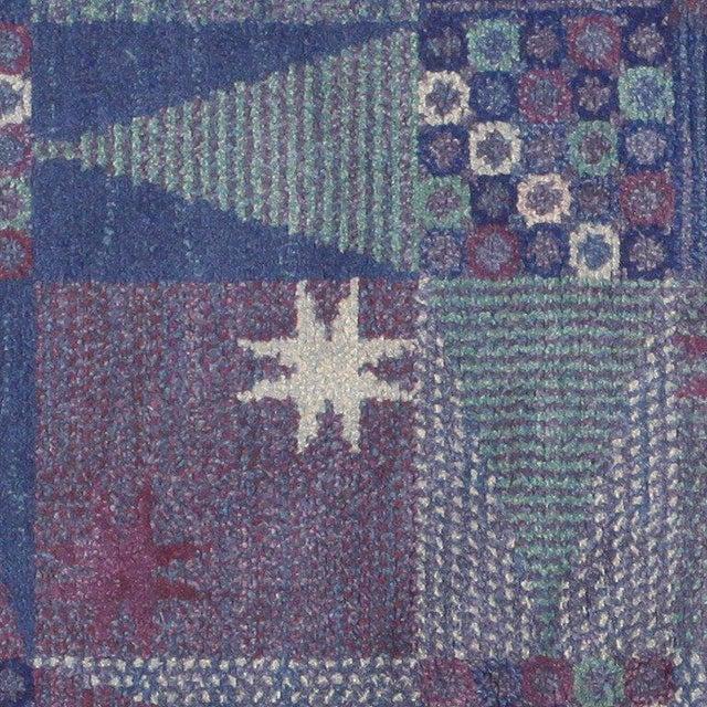 Blue Vintage Scandinavian Carpet by Marta Maas-Fjetterström - 6′ × 6′ For Sale - Image 8 of 9