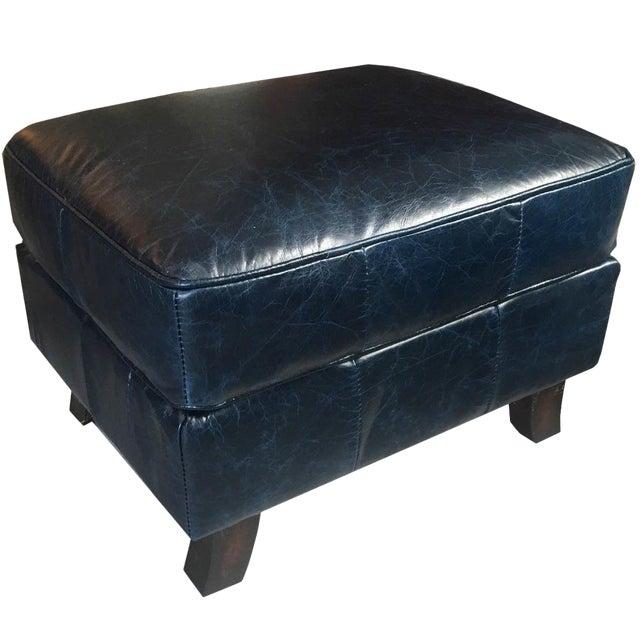 Super Dark Blue Leather Ottoman Theyellowbook Wood Chair Design Ideas Theyellowbookinfo