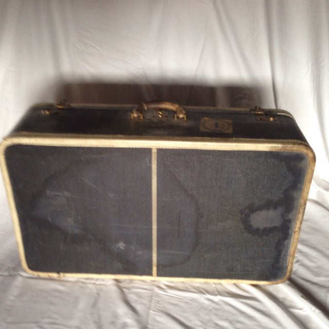 Large Vintage Dark Blue Suitcase For Sale - Image 5 of 9