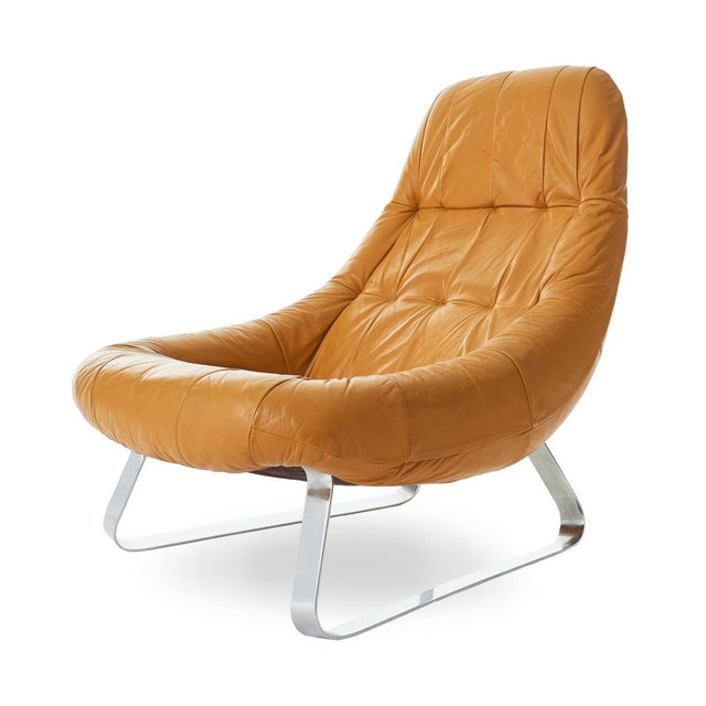 Gorgeous 1970's Percival Lafer Earth (MP-163) lounge chair made in Brazil. Original, perfectly worn in leather upholstery...