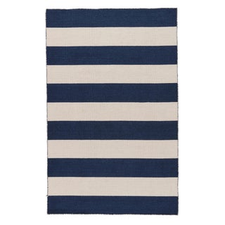 Jaipur Living Tierra Handmade Stripe Navy/ White Area Rug - 9′6″ × 13′6″ For Sale