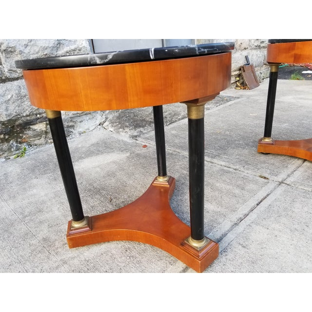 1940s Italian Empire Style Marble Top Side Tables - A Pair For Sale - Image 5 of 11