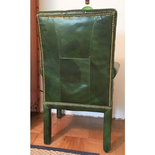 Emerald Green Moore & Giles Leather Tufted Armchair For Sale - Image 5 of 7