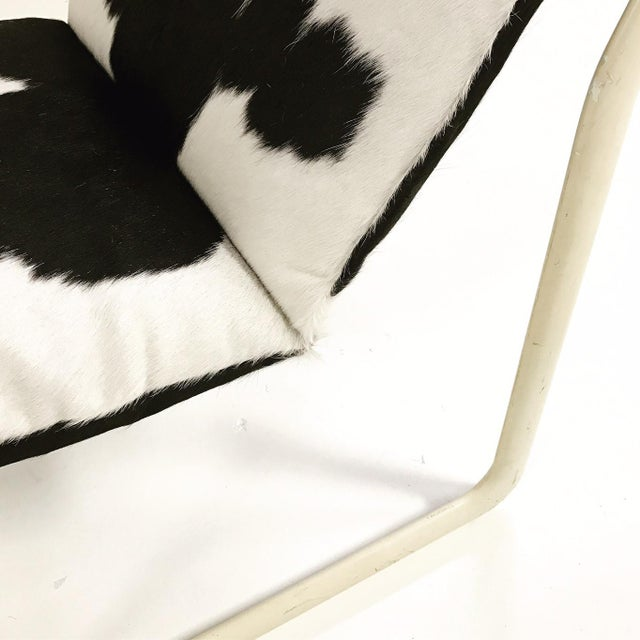 Animal Skin Forsyth One of a Kind Morrison & Hannah for Knoll Chair & Ottoman Restored in Black & White Brazilian Cowhide For Sale - Image 7 of 11