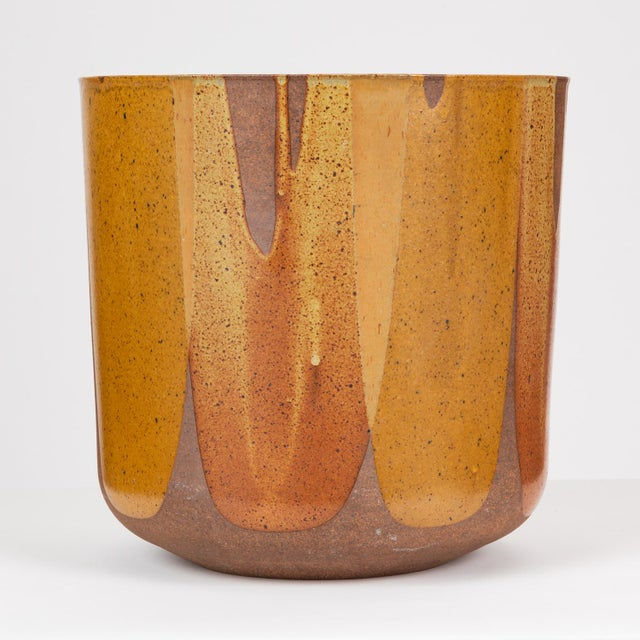 Mid-Century Modern Malcolm Leland Lt-24 Flame-Glazed Planter for Architectural Pottery For Sale - Image 3 of 10