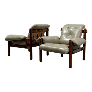 Exquisite Mid-Century Brazilian Design Set of Jacarandá Wooden Lounge Chairs by Jean Gillon for Woodart, 1960s.