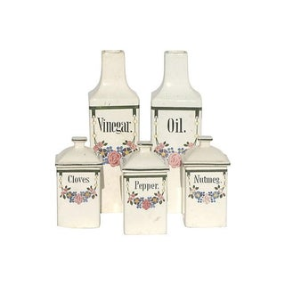 European Faience Canisters- Set of 5 For Sale