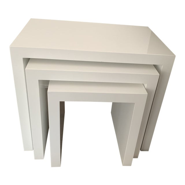 White Zinnia Nesting Tables Set Of 3: Contemporary Jonathan Adler White Lacquer Nesting Tables