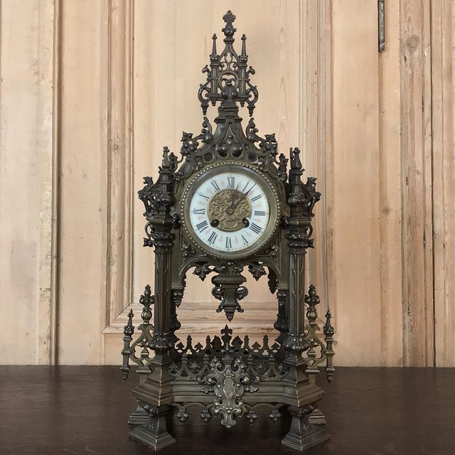 Mantel Clock, 19th Century French Gothic in Bronze For Sale - Image 13 of 13