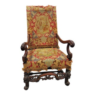 Victorian Eagle Carved Walnut Throne Chair For Sale