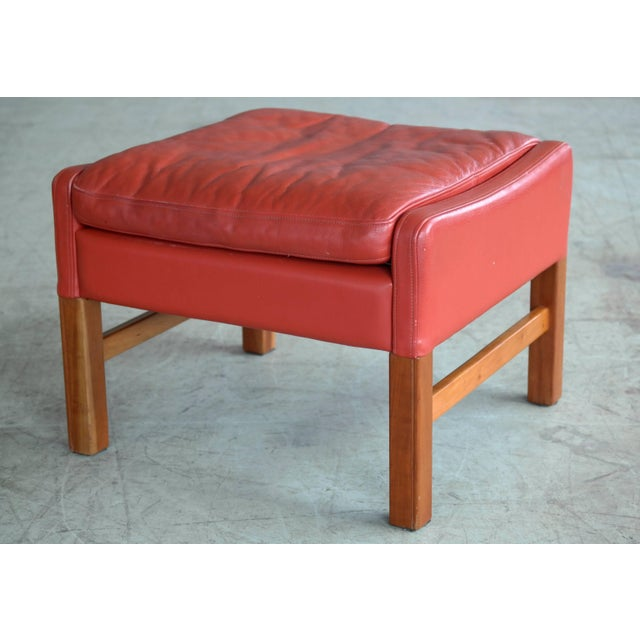 Svend Skipper Danish Wingback Armchair and Ottoman Model Admiral in Red Leather For Sale - Image 4 of 10